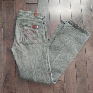 "7 for all mankind gray flynt jeans pink ""7"" pocket"
